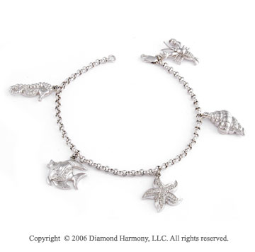 14k 1/2  Carat White Gold Lakeside Diamond Charm Bracelet
