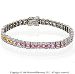 14k White Gold Oval Multi Color Sapphire Diamond Bracelet