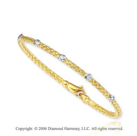 14k Yellow Gold Woven Bezel 1/6 Carat Diamond Bracelet