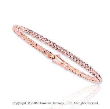 Woven Single Strand Lobster Lock 14k Rose Gold Bracelet