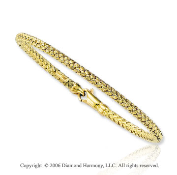 Woven Strand Lobster Lock 14k Yellow Gold Bracelet