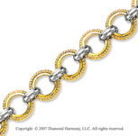 Braided Yellow Circles 14k Two Tone Gold Bracelet