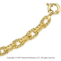 14k Yellow Goldold Carved Cable Chain Spring Ring Bracelet