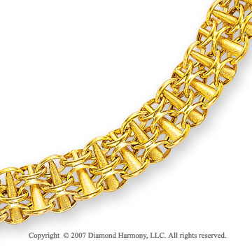 14k Yellow Gold Trumpet Ringlets Lattice Bracelet
