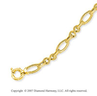 14k Yellow Gold Milgrain Rope Oval Figaro Bracelet
