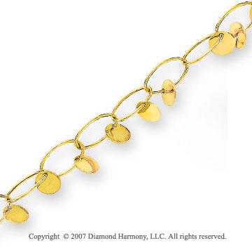 Oval Cable Small Medallion 14k Yellow Gold Bracelet
