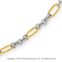 Figaro Rope Lobster Lock 14k Two Tone Gold Bracelet