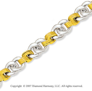 Carved Yellow Springs 14k Two Tone Gold Bracelet