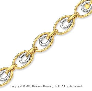 Double Oval Drop 14k Two Tone Gold Bracelet