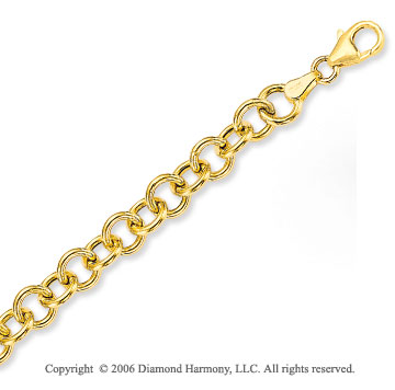 14k Yellow Gold Classic Single Ring 7mm Charm Bracelet