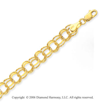 14k Yellow Gold Classic Double Ring 8mm Charm Bracelet