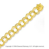 14k Yellow Gold Classic Double Ring 12mm Charm Bracelet