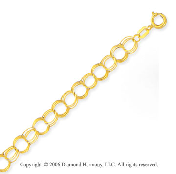 14k Yellow Gold Classic Triple Ring 5mm Charm Bracelet