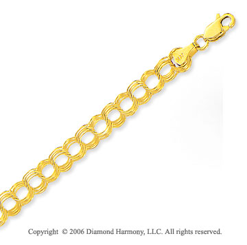 14k Yellow Gold Classic Triple Ring 7mm Charm Bracelet