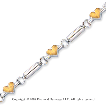 14k Two Tone Gold Hearts Smooth Bars 4mm Chain Bracelet