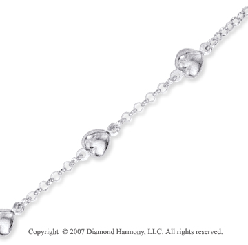 14k White Gold Hearts Lobster Lock Rolo Chain Bracelet