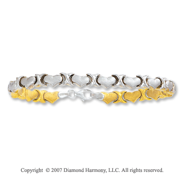 14k Two Tone Gold Hearts 5mm Lobster Lock XO Bracelet
