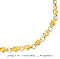 14k Yellow Gold Hearts Lobster Lock 5mm Chain Bracelet