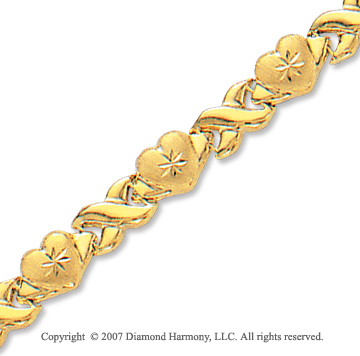 14k Yellow Gold Carved Hearts Lobster Lock XO Bracelet
