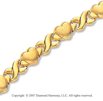 14k Yellow Gold Smooth Hearts Lobster Lock XO Bracelet
