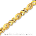 14k Yellow Gold Carved Drops Lobster Lock XO Bracelet