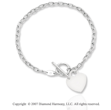 14k White Gold Heart 3mm Toggle Clasp Charm Bracelet