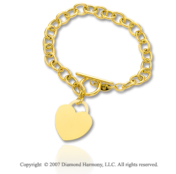 14k Yellow Gold Heart 6mm Toggle Clasp Charm Bracelet