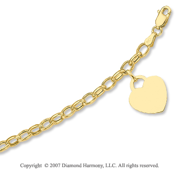 14k Yellow Gold Heart 4mm Lobster Lock Charm Bracelet