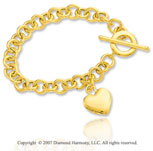 14k Yellow Gold Heart 9mm Toggle Clasp Charm Bracelet