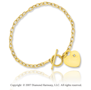 14k Yellow Gold Heart 3mm Toggle Diamond Charm Bracelet