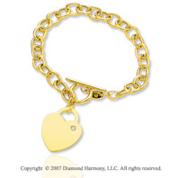 14k Yellow Gold Heart 7mm Toggle Diamond Charm Bracelet