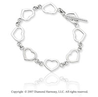 14k White Gold Hearts Toggle Clasp Rolo Chain Bracelet