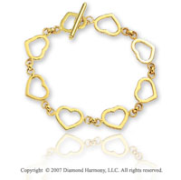 14k Yellow Gold Hearts Toggle Clasp Rolo Chain Bracelet