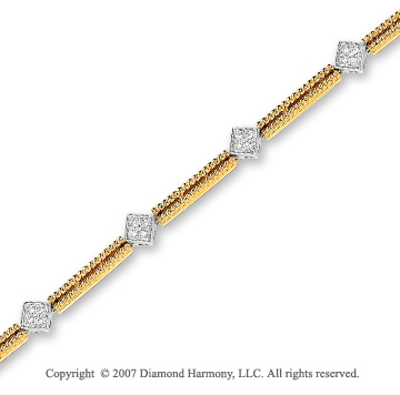 14k Two Tone Gold Prong 1/4 Carat Diamond Bracelet