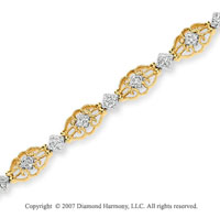 14k Two Tone Gold Ornate Filigree1/3 Carat Diamond Bracelet