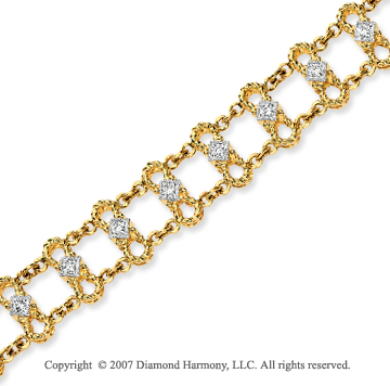 14k Yellow Gold Elegant 1/3 Carat Diamond Chain Bracelet