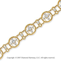 14k Yellow Gold Multi Circle 2/3 Carat Diamond Bracelet