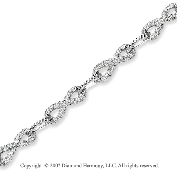 14k White Gold Classy 0.90 Carat Diamond Fashion Bracelet