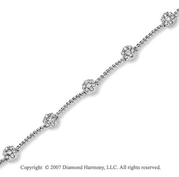 14k White Gold Round Prong 1.10 Carat Diamond Bracelet