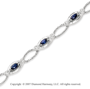 14k White Gold Prong 1/6 Carat Diamond Blue Sapphire Bracelet