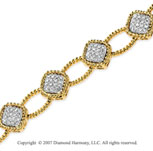 14k Yellow Gold Rope Prong 1.15 Carat Diamond Bracelet