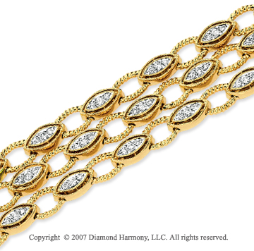 14k Yellow Gold Stylish Prong 1.45 Carat Diamond Bracelet