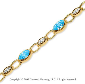 14k Yellow Gold 1/4 Carat Diamond Sky Blue Topaz Diamond
