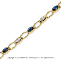 14k Yellow Gold 1/4 Carat Diamond Blue Sapphire Bracelet