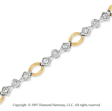 14k Two Tone Gold Elegant Style 2/3 Carat Diamond Bracelet