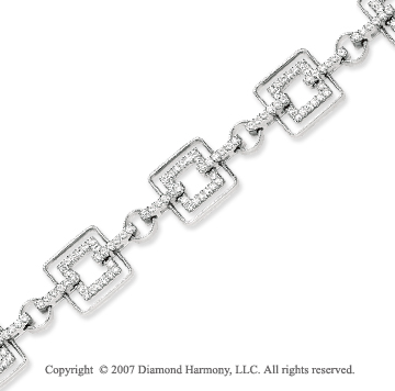 14k White Gold Stylish Square 1.50 Carat Diamond Bracelet