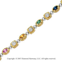 14k Yellow Goldold Multi Color 0.80 Carat Diamond Sapphire Bracelet