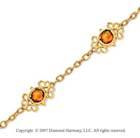 14k Yellow Gold Round Checkerboard Citrine Bracelet