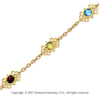 14k Yellow Goldold Elegant Checkerboard Multi Stone Bracelet