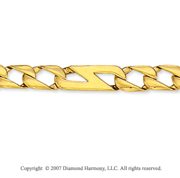 14k Yellow Gold Classic 1/4 inch Men's Figaro Bracelet